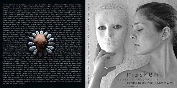 """Umschlag . Hendrik Neukirchner + Günter Giese """"Masken"""" Texte + Fotografie (Buchgestaltung: Edition Sinnbild Designakut 2014)"""